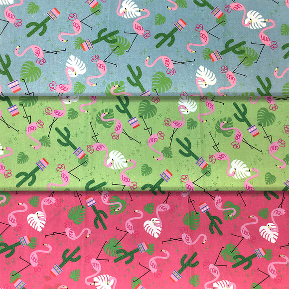 Group swatch cartoon flamingos and cactus printed fabric in various colours