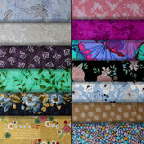 Group swatch assorted flower & plant print fabrics