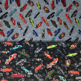 Group swatch hot rod printed fabric in black and blue