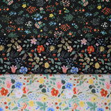 Group swatch Strawberry Fields collection floral printed fabrics in various styles/colours