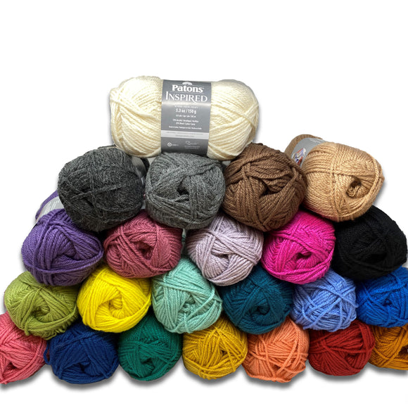 Patons Inspired Yarn - Group Swatch showing a range of colours