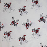 Square swatch santa & rudolph printed fabric (white fabric with cartoon white rudolph with red nose getting rode by cartoon santa in red suit, tossed allover with faint grey reindeer tracks)