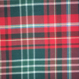 Swatch of New Brunswick tartan featuring dark green background with red and white bands