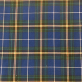 Swatch of Nova Scotia tartan (blue with green and black bands and yellow and red fine lines)