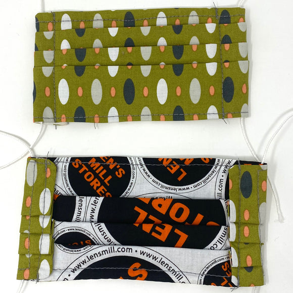 Pick Your Print Adult Face Mask - Ovals on Olive