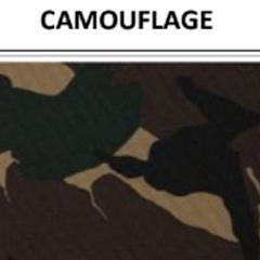 Vinyl-backed polyester fabric swatch in shade camouflage (light/dark brown, green, black) with label