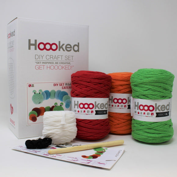 Caterpillar Crochet Kit packaging and contents (5 colours, hook)
