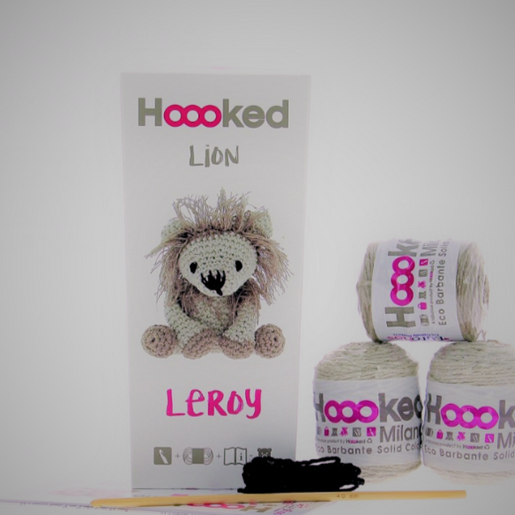 Leroy Lion Crochet Kit packaging and contents (balls, hook)