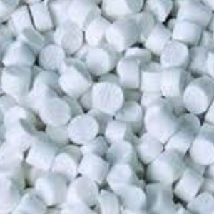 Small, white pvc pellets