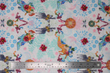 Flat swatch white fabric with blue shadow floral and colourful flowers and giraffes, butterflies, high heeled shoes, printed fabric