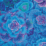 Swatch of floral printed fabric in blue