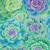 Swatch of floral printed fabric in green