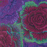 Swatch of floral printed fabric in purple