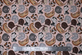 Flat swatch cat themed fabric in cat nap (light pink fabric with assorted cartoon napping cats allover)