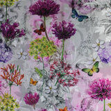 Swatch of butterfly/floral printed fabric