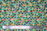 Flat swatch Caleido fabric (geometric collage look pattern fabric circles allover with diamonds within all in lime green, green, teal, pink, blue, orange colourway)