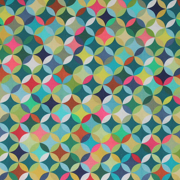 Square swatch Caleido fabric (geometric collage look pattern fabric circles allover with diamonds within all in lime green, green, teal, pink, blue, orange colourway)