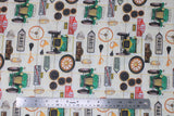 Flat swatch auto fabric (off white fabric with pale yellow/green grid lines and tossed vintage car related emblems, green old car, tires, odometers, horns, road signs, etc. in full colour)