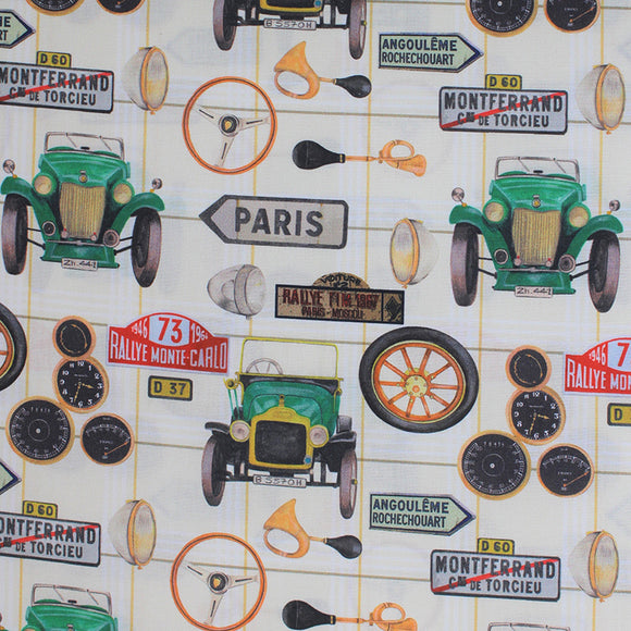 Square swatch auto fabric (off white fabric with pale yellow/green grid lines and tossed vintage car related emblems, green old car, tires, odometers, horns, road signs, etc. in full colour)