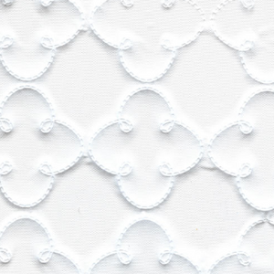 Swatch of white quilted vinyl in a pattern of repeated quatrefoil rows