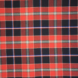 Swatch of Quebec tartan, featuring black background with red and white bands