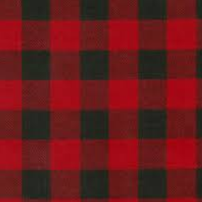 Swatch of red and black buffalo check flannel