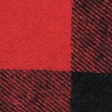 Swatch of red and black large check buffalo plaid flannel