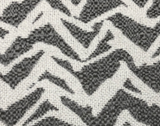 Square swatch upholstery fabric with zebra like print in light grey (white with light grey stripes/pattern)
