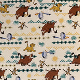 Square swatch The Lion King fabric (white fabric with yellow/beige/teal geometric mountains and suns pattern and Simba, Timon, Pumba, Zazoo characters)