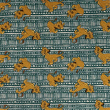 Square swatch The Lion King fabric (white/teal tribal pattern design fabric with tossed Simba characters)