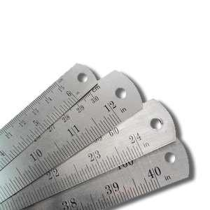 "Group swatch stainless steel rulers in assorted sizes (6"" - 40"")"