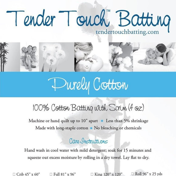 Square swatch Tender Touch Batting packaging (100% Cotton)