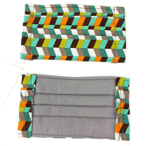 Pick Your Print Adult Face Mask - Teal Orange Geometric Print