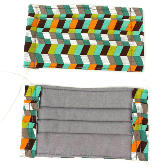 Front and back photo: pick your print face mask (geometric rectangle shapes print mask with grey/brown/turquoise/green/white colourway with white elastic ear loops)