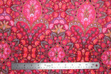 Flat swatch of intricate design velvet in pink colour