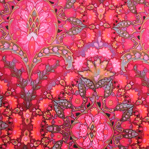 Swatch of intricate design velvet in pink colour