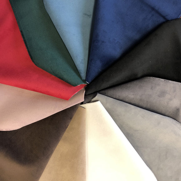 Group swatch solid velvet fabric in a variety of colour options arranged in a swatch wheel