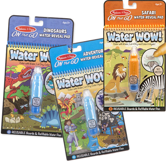 Group photo water reveal pads in various styles (Dinosaurs, Safari, Adventure)