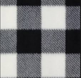 Swatch of white and black buffalo check flannel
