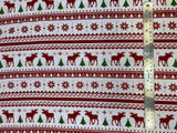 Flat swatch winter themed flannel in Moose and Tree stripes (Christmas sweater look stripes with red deer and green trees on white)