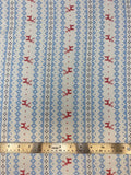 Flat swatch winter themed flannel in Deer lighter blue stripes (small print Christmas sweater look stripes with red deer pattern on white)