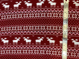 Flat swatch winter themed flannel in Moose stripes (Christmas sweater look stripes with white pixel moose on red)