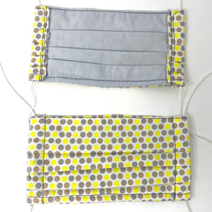 Pick Your Print Adult Face Mask - Yellow and Grey Polka Dots
