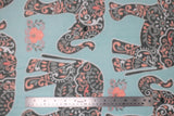 Flat swatch patterned elephants fabric (light baby blue fabric with dark grey elephants with grey, blue, and pink paisley look pattern within and tossed floral appliques)