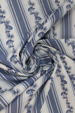 Swirled swatch winter printed fabric in Pinecone Stripes on White