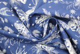 Swirled swatch winter printed fabric in Swallows & Pinecones on Navy