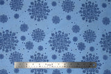 Flat swatch winter printed fabric in Snowflakes on Light Blue