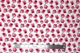 Flat swatch garden themed printed fabric in Pink Flowers & Green Leaves on White