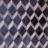 Swatch of Brent upholstery fabric - velvet texture in a geometric diamond print - in colourway Navy (navy base with ivory zigzag)
