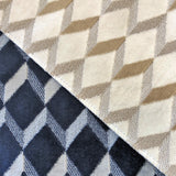 Swatches of Brent upholstery fabric - velvet texture in a geometric diamond print
